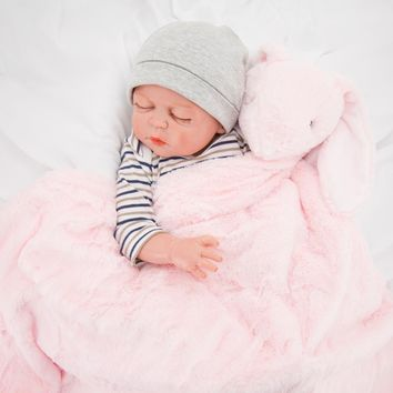 Christmas Blanket & Swaddling New Arrival Long Tile Plush PinK Rabbit Newborn Baby Mohair Super Soft Rabbit Thick Pink Bunny