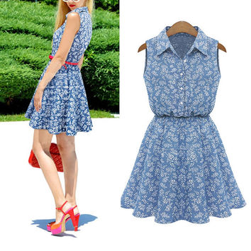 Women Ladies Summer Dress Casual Slim Beach Denim Dresses A-line Lapel Sleeveless Dress De Festa Femininos  Vestidos LM58