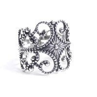 Vintage Sterling Silver Filigee Ring - Adjustable Signed Beau Jewelry / Floral Filigree