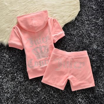 Juicy Couture Studded Logo Crown Velour Tracksuit 608 2pcs Women Suits Pink