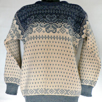 Dale of Norway - 100% Wool Nordic Fair Isle Sweater - Made in Norway - Snowflake Ski - Blue & White - Women's Size 40 Small (S)