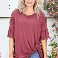 Get Twisted Ruffle Sleeves Modal Top {Burgundy}