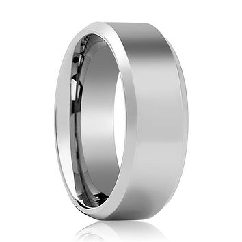 Aydins Tungsten Wedding Ring Shiny Polished Center Beveled Edge 6mm, 8mm Tungsten Carbide Band