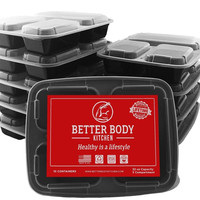 Meal Prep Food Containers by Better Body Kitchen ( Set of 10 ) 3 Compartment...