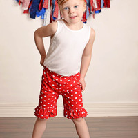 Red & White Polka Dot Double Ruffle Shorties Shorts - Toddler & Girl Sizes!