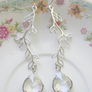 Silver Branch Dangle Earrings with Clear Teardrop Faceted Glass - Hollywood Glamour Bride Jewelry