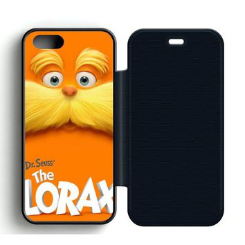 Dr Seuss Lorax Face Leather Wallet Flip Case iPhone 5 | 5S