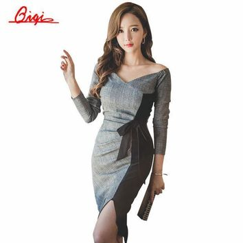 Qiqi New 2016 Autumn Plaid Patchwork Dress Business Work V Neck Sexy Bow Tunic Bodycon Sheath Casual Pencil Dresses