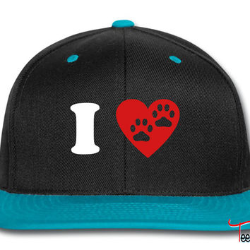 I Heart Paw Print Two Snapback