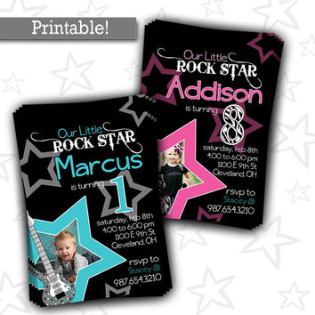 Rock Star Birthday Party Invitation {Boy/Girl} | Super Star Birthday Photo Invitation | Rockstar 1st Birthday | Tween Birthday