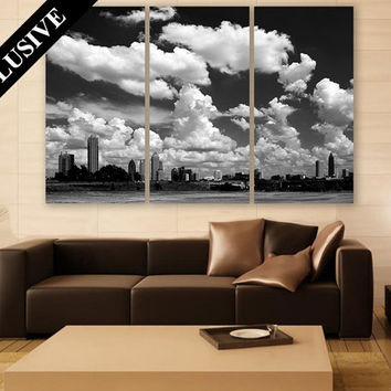Atlanta Cityscape Wall Art EXTRA LARGE Canvas Print 3 Panel Art Skyline Wall Decor Fine Art Photography Print for Home & Office Wall Art