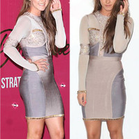 Long Sleeve Studded Color Contrast Bodycon Bandage Dress