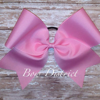 """3"""" Solid Pink Plain Cheer Bow"""