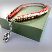 Heishi Bead Anklet, Flip Flop Charm Anklet, Coral Jewelry, Size Large #Accessories #Anklet #Flip Flop #Beach #Summer