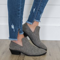 Smooth Strut Convertible Booties - Charcoal