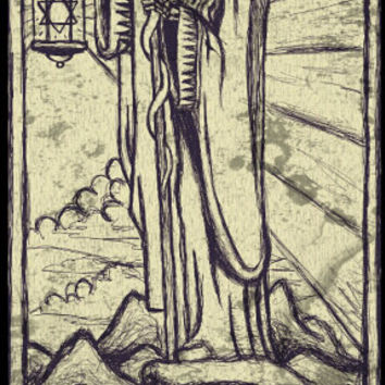 Tarot Card Print the Hermit by Shayne of the Dead