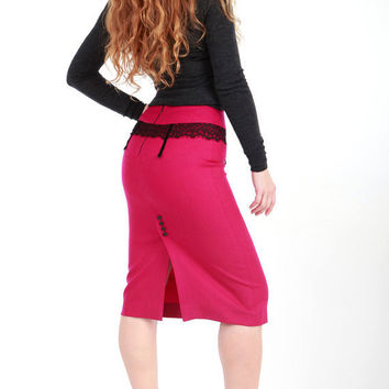 Hot pink pencil skirt, finest wool, sexy unique style, OOAK