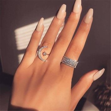 Handmade Moon Star Promise ring  AAAAA Cz 100% Real 925 Sterling silver Engagement wedding band ring for women Men Party Jewelry