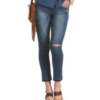 Med Wash Denim Distressed Cropped Cut-Off Jeans by Charlotte Russe