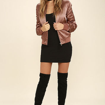 Run this City Rusty Rose Satin Bomber Jacket