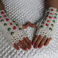 Knitted Fingerless Gloves,White,Rose Embroidered,Accessories,Gloves&Mittens,Gift Ideas,Turkish handicrafts,For her,Clothing and Accessories