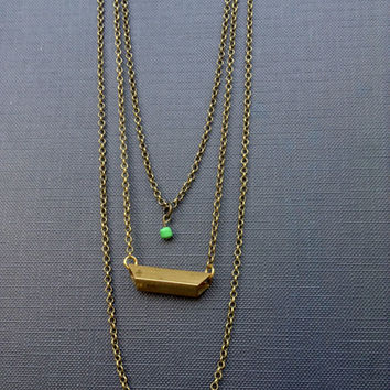 Brass Layered Necklace // GOLD Bar Necklace // Antique Gold Bar // Antique Brass jewelry //Bohemian Jewelry // Green pendant necklace