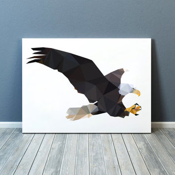 Geometric decor Bird of prey print Wall art Bald eagle poster TOA78
