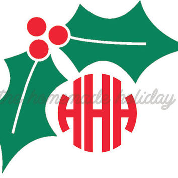 Christmas holly berry Monogram Car Decal- holly Vinyl Monogram Decal with crown- iPad Decal- Phone Decal- Sticker stocking stuffer- Laptop