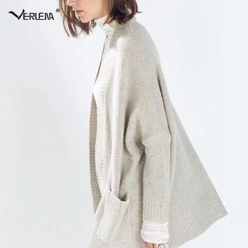 Verlena 2017 Fluffy Heavy-Knit Wool Long Cardigan Female Oversized Sweater with 2 Pockets Women England Warm Thick Sweaters Coat