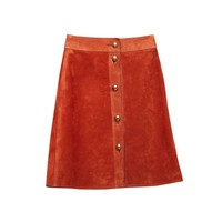 Gucci Suede Button Skirt - Brown Skirt - ShopBAZAAR