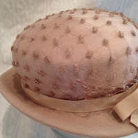 Vintage Beige Veiled Derby Hat 50s