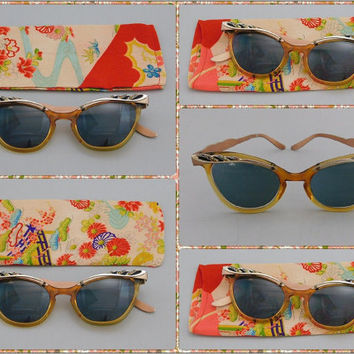 1950's Vintage Cat Eye Rx Sunglasses with Silk Kimono Eyeglasses Case by Liberty - Fancy Aluminum & Plastic Frames with Rhinestones!