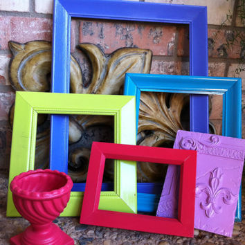 Unique Home Decor, Vintage Frames, Jack and Jill, Funky Home Decor, Bright Frames, Upcycled