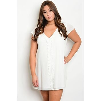 Plus size V-neckline crochet details skater dress