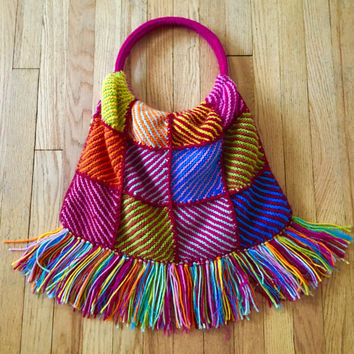 Vintage Crochet Fringe Bag Knit Crochet Purse Granny Square Handbag Shoulder Hippie messanger 60s BoHo Gypsy Festival Coachella Free People