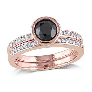 1-1/8 CT. T.W. Enhanced Black and White Diamond Bridal Set in 10K Rose Gold - Save on Select Styles - Zales