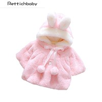 2017 Winter Coat Lovely Solid Color Fashion Baby Girls Clothes Latest Doll Clothes Fur Ball Small Fresh Rabbit Hat