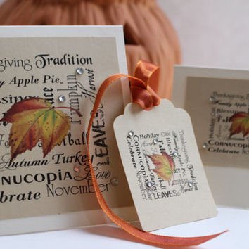 Thanksgiving  -  Thanksgiving Place Cards - Thanksgiving Napkin holders or gift tags - Thanksgiving Thank you cards