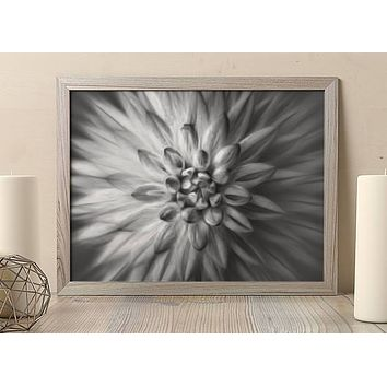Reiki Charged Black and White Dahlia Flower Poster Bohemian Art Print Poster  Design no frame 20x30 Large
