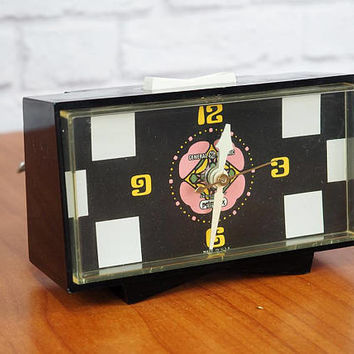 Vintage 60s Peter Max Psychedelic Hippie Snooze Alarm Clock by GE #7270 Black Aura Pattern