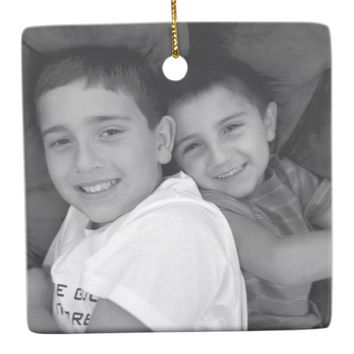 Custom Photo Christmas Square Ornament