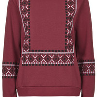 Embroidered Insert Sweat - Burgundy