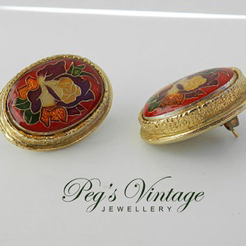 Vintage Red Floral Cloisonné Earrings, Flower Vintage Jewelry, Enamel Chinese Asian Gold Tone Post Earrings