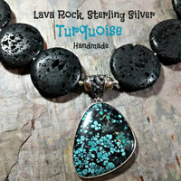 Big Bold Jet Black Lava Rock Necklace Turquoise Black Stone Pendant Vintage Handmade Big Black Round Disc Shaped Stones Outstanding Piece!