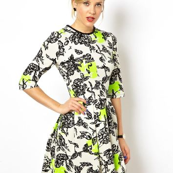 ASOS Fluro Flower Embellished Neck Shift Dress