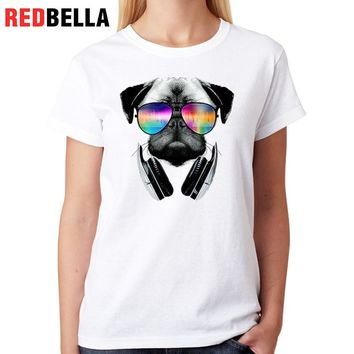 Fashion Women T Shirt Pug Dogs Spoof Cute Kawaii Animal Tshirt Female Cotton Print White Tumblr Clothing Femme Tops Top Tee