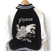 ON SALE Vintage 80's JAPAN Yokosuka Dragon Head Sukajan Emboidered Souvenirs Bomber Army White Velvet Jacket