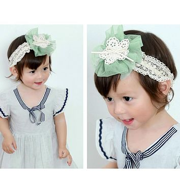 Newborn Floral Headband Infant Baby Girls Gauze Flower Bow knot Headbands Children Elastic Lace Head wear Girls Headdress