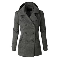 Classic Wool Double Breasted Pea Coat Jacket With Hoodie (CLEARANCE)