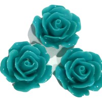 Turquoise green flower resin cabochon 15mm / 1-5 pieces